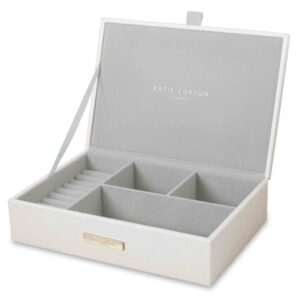 Katie Loxton Large Jewellery Box Metallic White Shine Bright