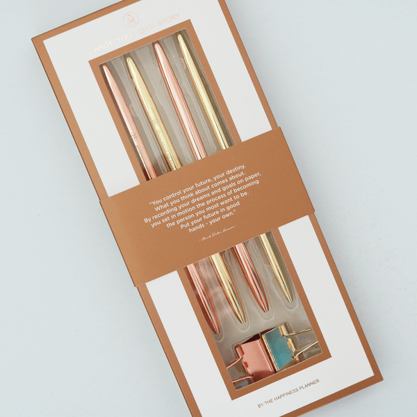 Happiness Planner Gold Rose Gold Pens