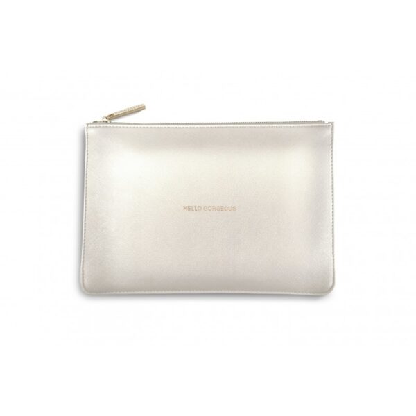 Katie Loxton Perfect Pouch Metallic White Hello Gorgeous