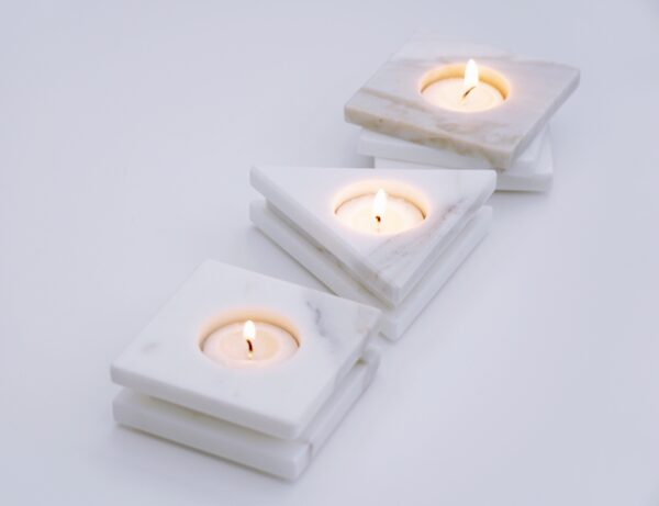 Blonde and Stone Marble Tealight Candle Holders