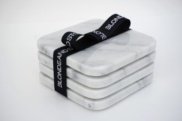 Blonde and Stone Carrara Marble Coaster
