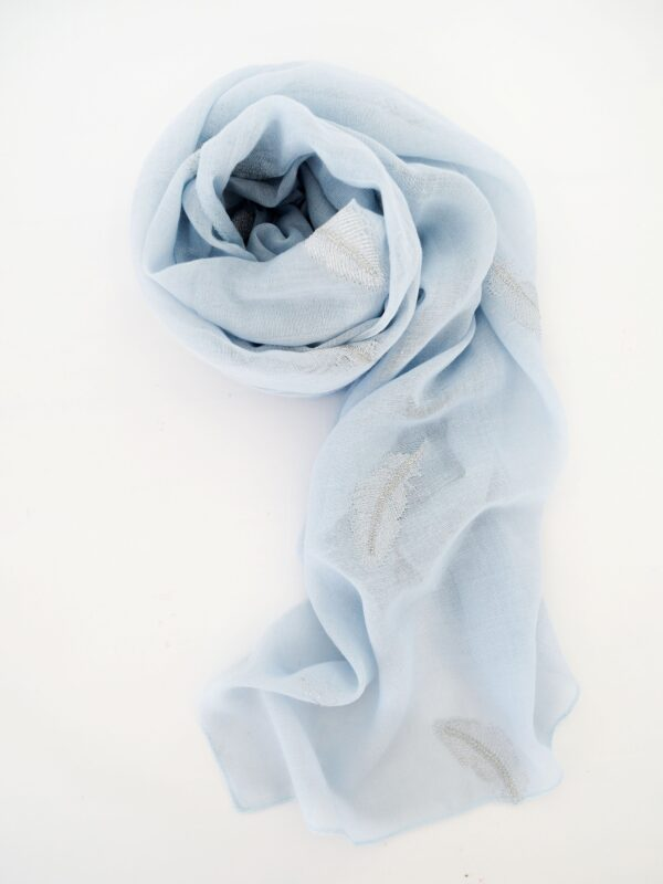 MSH Scarf Pale Blue with Silver Feathers