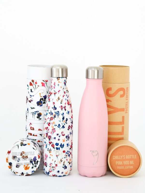 Chillys bottles Floral Wild and Pastel Pink