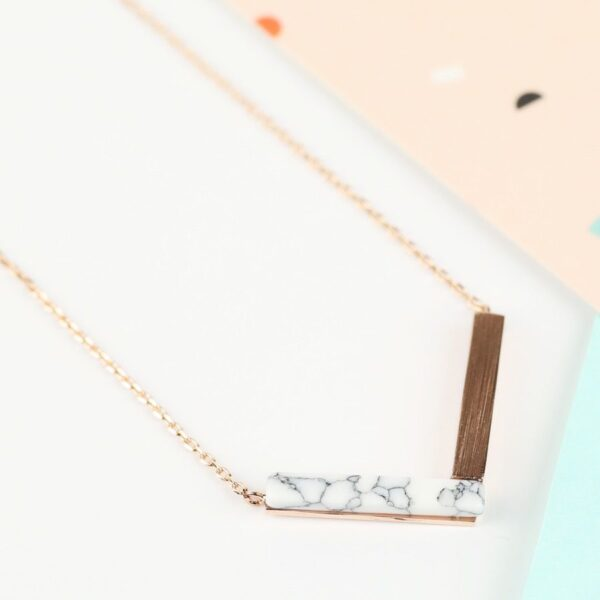 Lisa Angel Rose Gold Marble Necklace