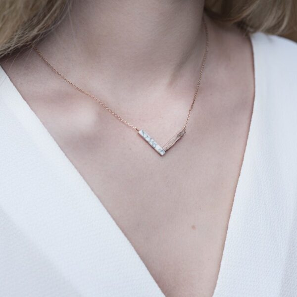 Lisa Angel Rose Gold Marble Chevron Necklace