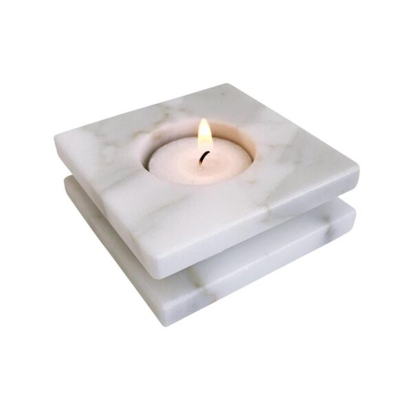 Blonde and Stone Square Marble Tealight Candle Holder