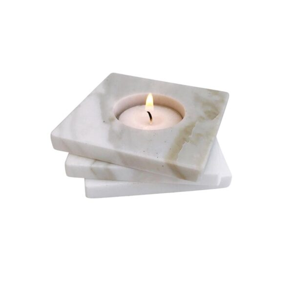 Blonde and Stone Staggered Marble Tealight Candle Holder