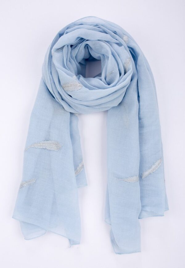 Pale Blue Scarf Silver Embroidered Feathers