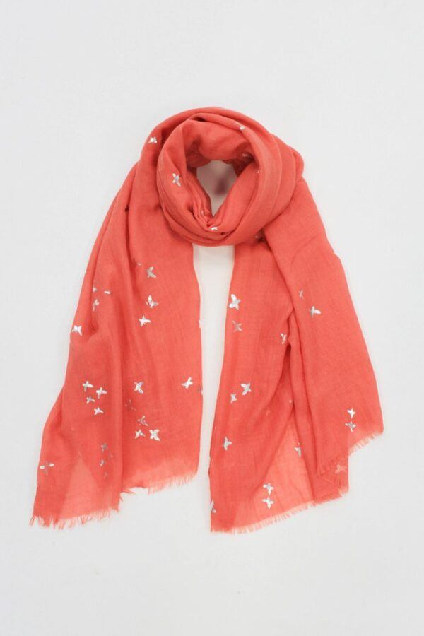 Coral Scarf Silver Foil Print Butterfly
