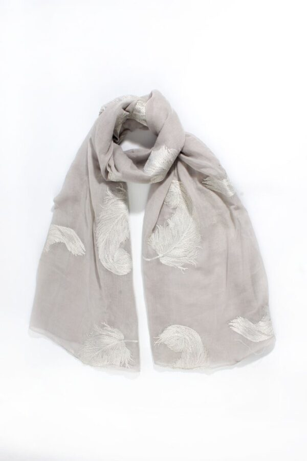 Light Grey Scarf with Large Silver Embroidered Feathers