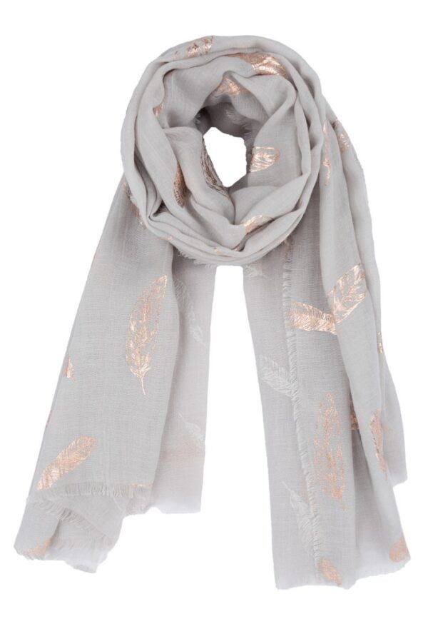 Light Grey Rose Gold Feather Scarf MSH