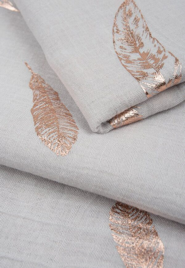Light Grey Rose Gold Foil Print Scarf Feather MSH