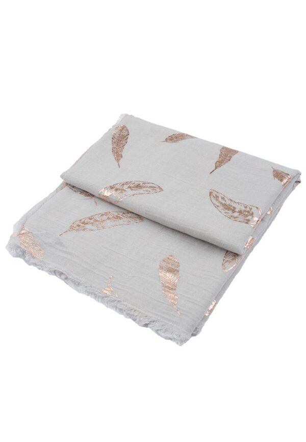 Feather Scarf Rose Gold Foil Print Grey