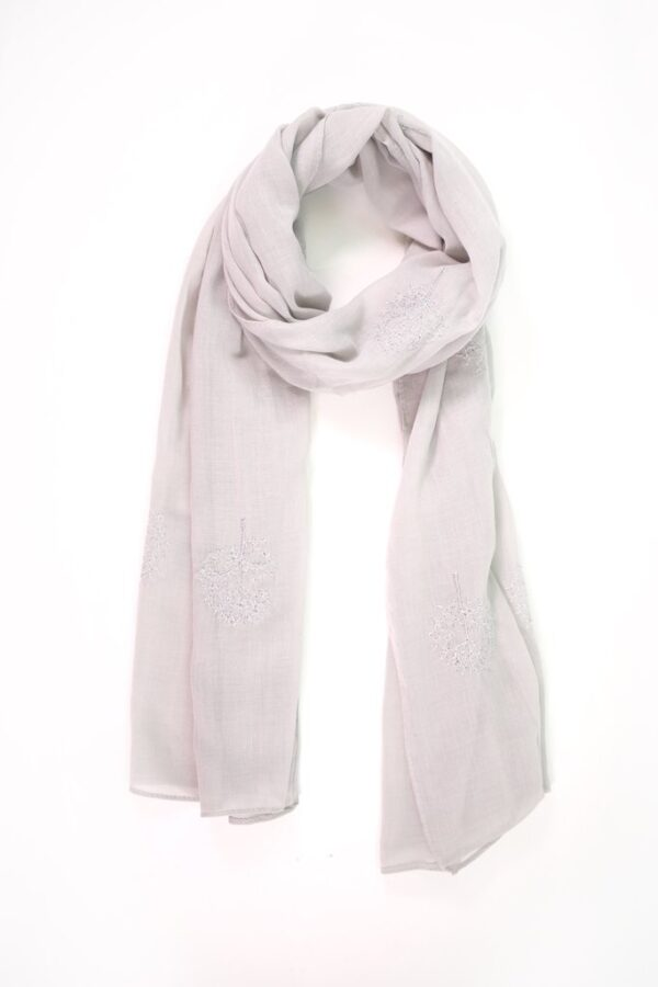 Light Grey Scarf Silver Trees Embroidered