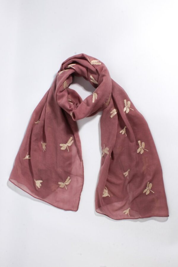 Mauve Dusky Pink Scarf Gold Embroidered Dragonflies