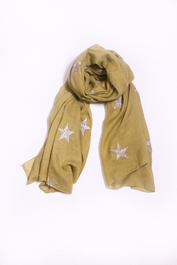 Mustard Scarf with Silver Stars Embroidery