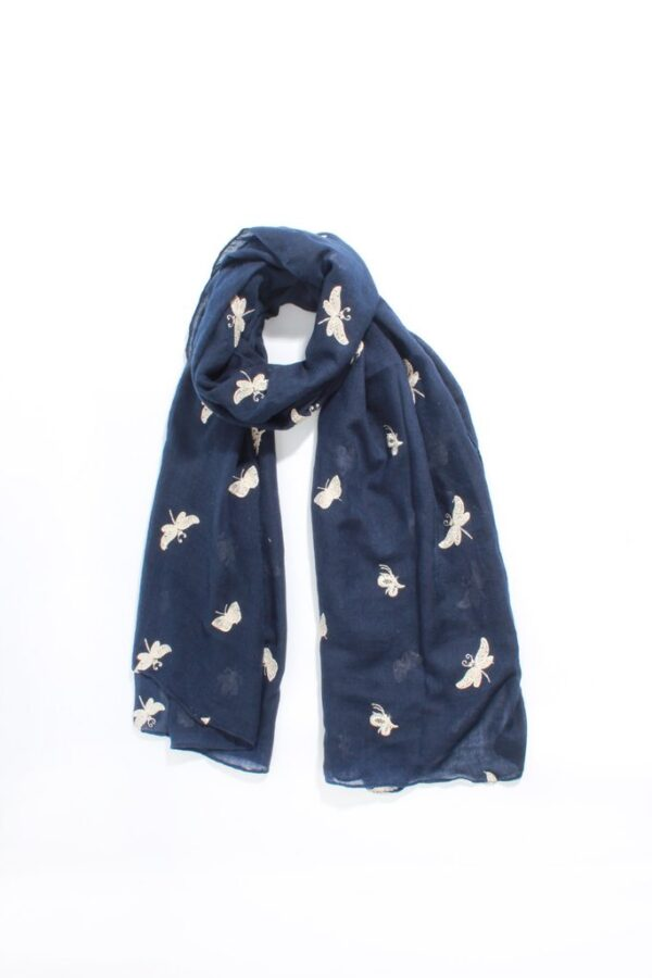 Navy Scarf with Gold Embroidered Butterflies
