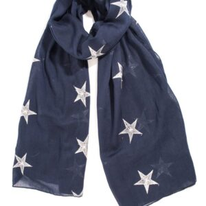 Navy Scarf with Silver Embroidery Stars