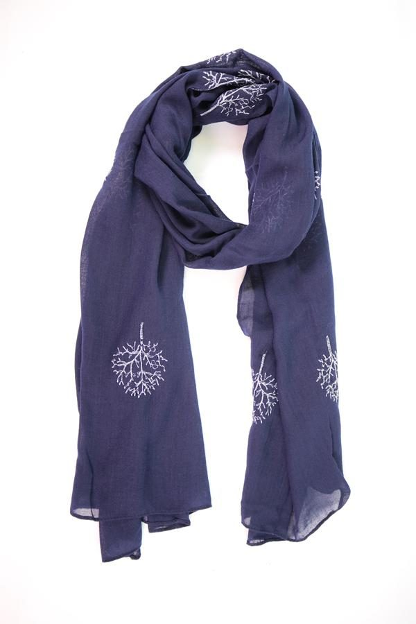 Navy Silver Tree Scarf Embroidered