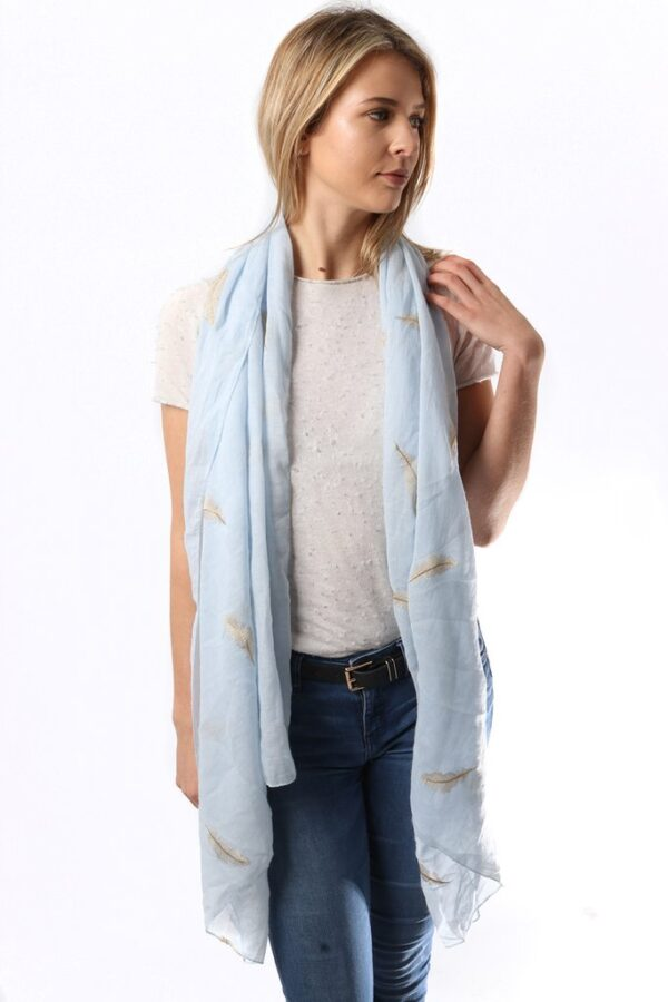 Pale Blue Scarf with Gold Embroidery Feather