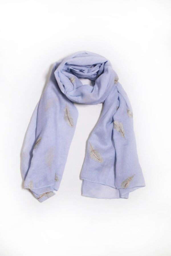 Pale Blue Scarf with Embroidered Gold Feathers