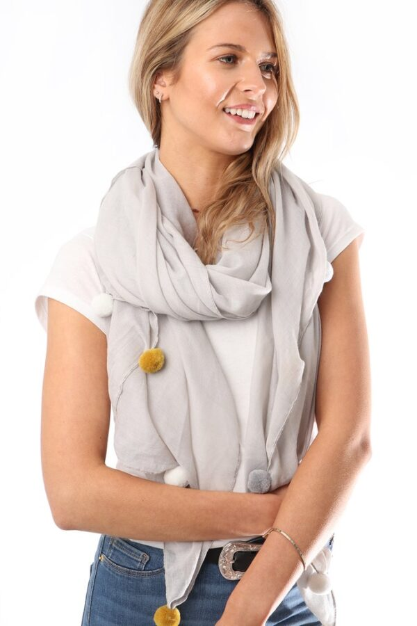 Light Grey Scarf Mustard White Grey Pom Poms