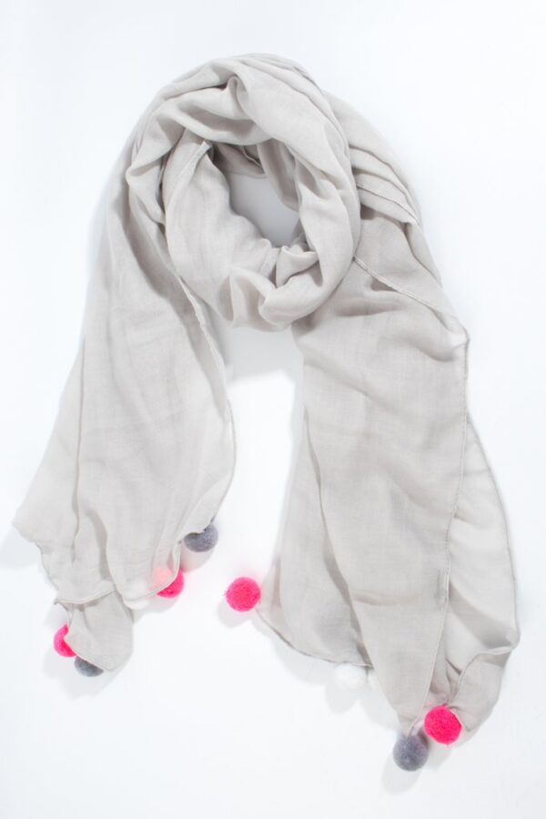 Grey Scarf Pink White Grey Pom Poms