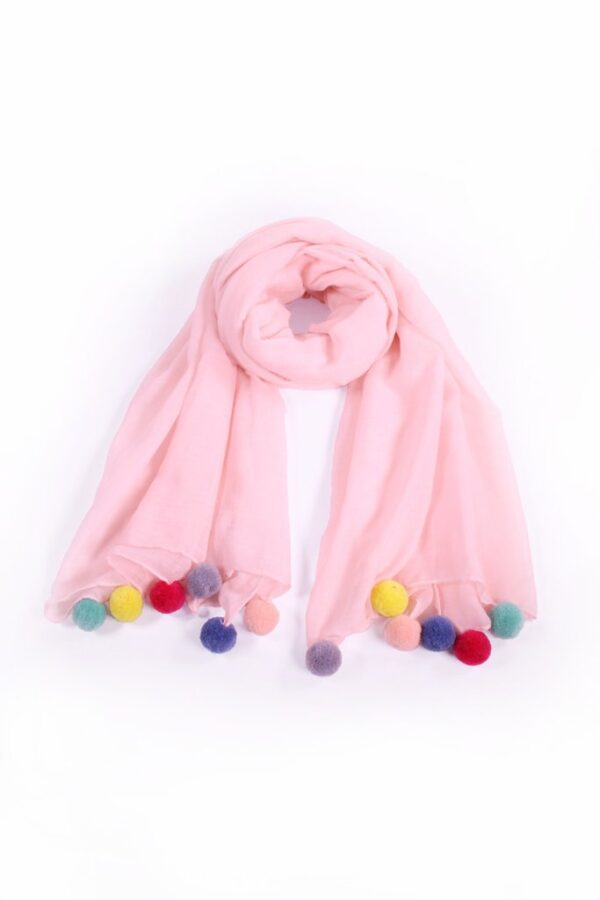 Pink Scarf Multicoloured Pom Poms