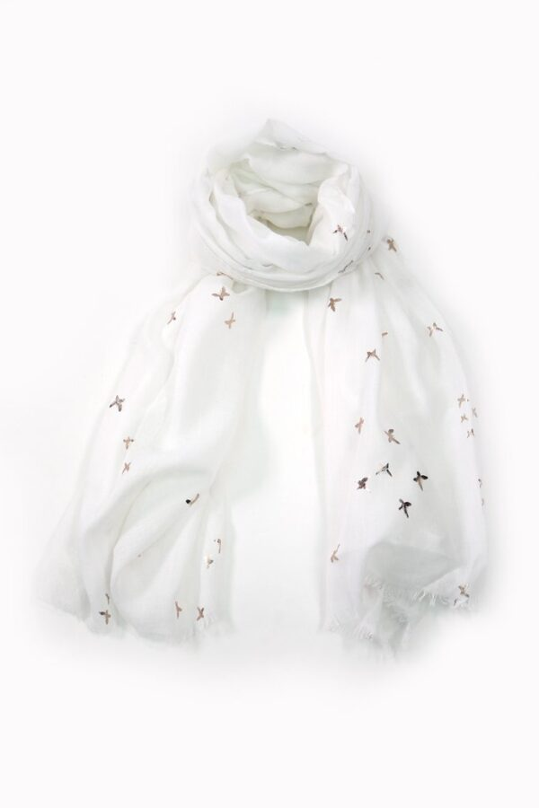 White Scarf Rose Gold Foil Print Butterflies