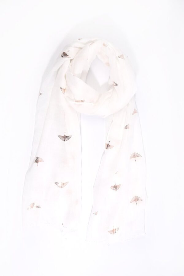White Scarf with Rose Gold Foil Print Cranes