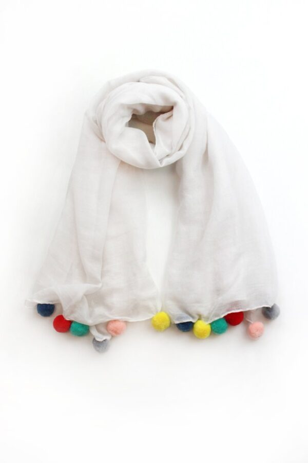 White Scarf Multicoloured Pom Poms