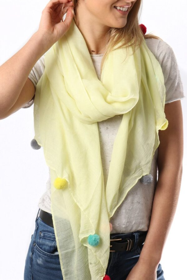 Lemon Yellow Rainbow Pom Pom Scarf