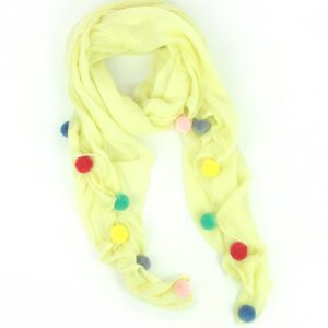 Yellow Multicoloured Pom Pom Scarf