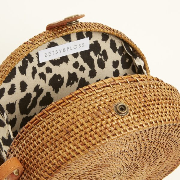 Betsy and Floss Round Basket Bag with Leopard Print Lining
