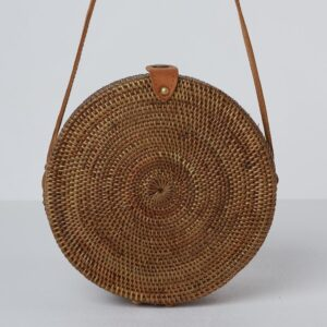 Betsy and Floss Palermo Round Basket Bag with Long Strap