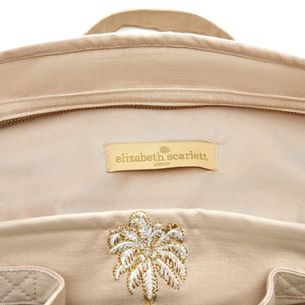 Elizabeth Scarlett Palmier Taupe Travel Bag Detail