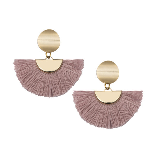A Weathered Penny Tassel Earrings - Theia - Blush Pink or Gold
