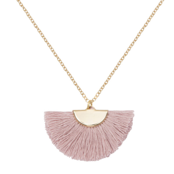 A Weathered Penny Tassel Necklace - Theia - Blush Pink