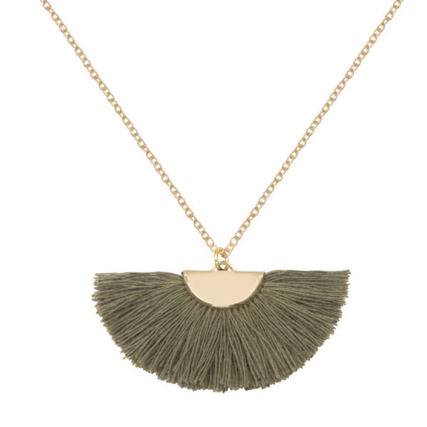 A Weathered Penny Tassel Necklace - Theia - Khaki Dark Green