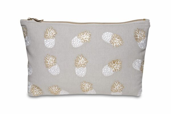 Elizabeth Scarlett Ananas Pouch Cloud pale grey with pineapples