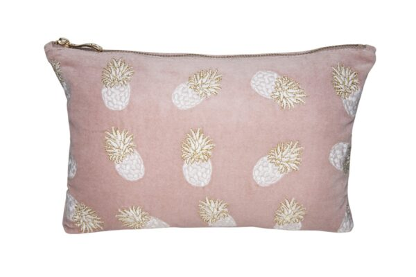 Elizabeth Scarlett Ananas Pouch Mauve Velvet dusky pink purple with pineapples