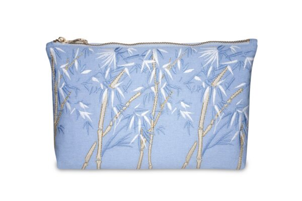 Elizabeth Scarlett Bamboo Pouch Chambray Blue with blue brown and gold bamboo leaves