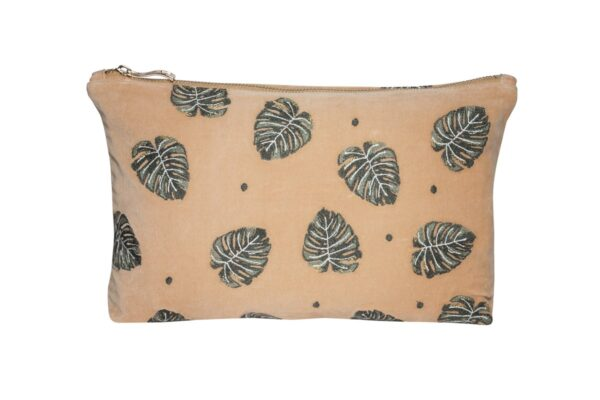 Elizabeth Scarlett Jungle Leaf Pouch in Copper Velvet with Green and Gold Palm Leaves