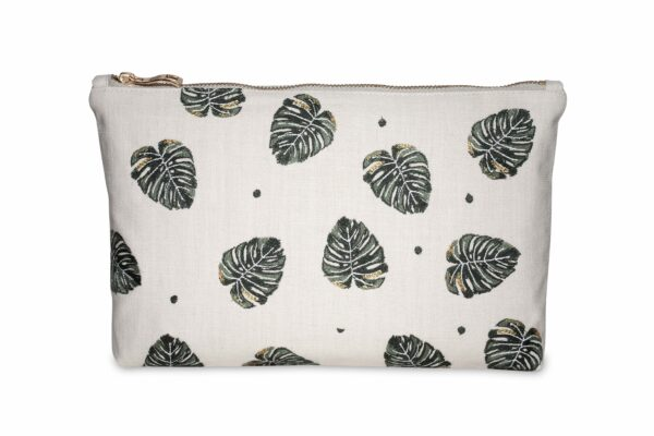 Elizabeth Scarlett Jungle Leaf Pouch Wash Bag in Natural Cream with Dark Green and Gold Palm Leaves