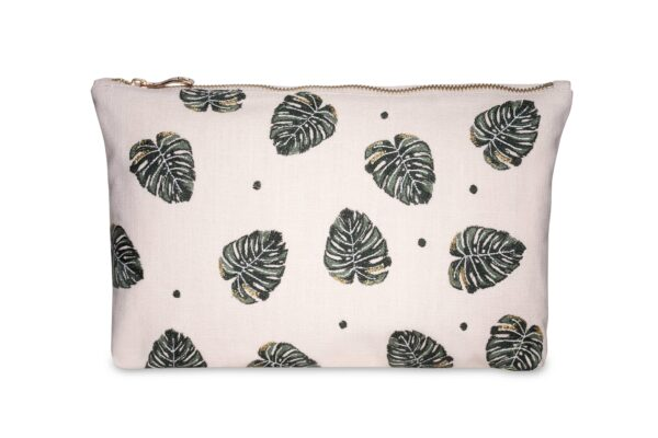 Elizabeth Scarlett Jungle Leaf Pouch Wash Bag in Rose Pink with Green and Gold Palm Leaves