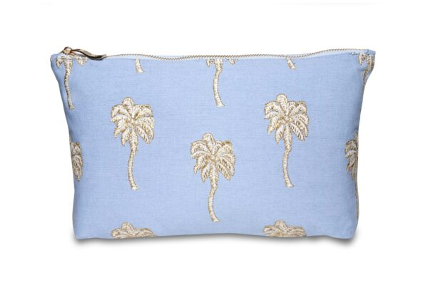 Elizabeth Scarlett Palmier Pouch in Chambray blue with white and gold palm trees