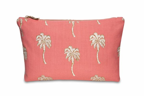 Elizabeth Scarlett Palmier Pouch in Coral with white and gold palm trees
