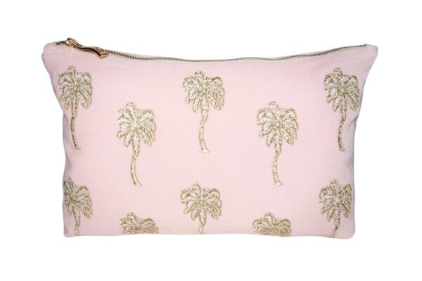 Elizabeth Scarlett Palmier Pouch in Rosewater pale pink velvet with gold and white palm trees