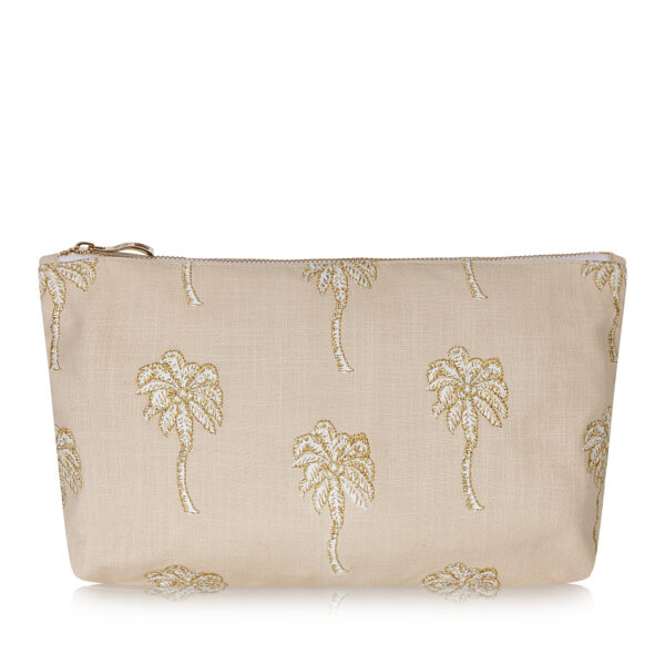 Elizabeth Scarlett Palmier Pouch in Taupe - mid beige with white and gold palm trees