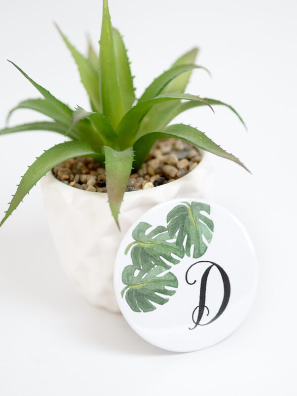 Moi-Même and Emerald and Ivy Studios Personalised Compact Mirror with Monstera Palm Leaves